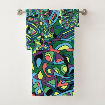 Colorful Mosaic Abstract Pattern Bath Towel Set