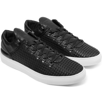 Filling Pieces Wired Black Woven Leather Mountain Cut Sneakers | HYPEBEAST Store. Shop Online for Men's Fashion, Streetwear, Sneakers, Accessories