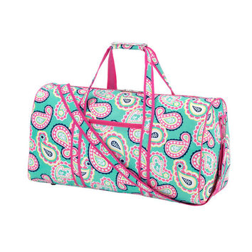 CUSTOM Monogram Paisley Duffel Bag -- Great for Girl Scouts, Sorority's, and Sleepovers!