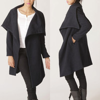 FM011 big collar wool coat black winer warm coat