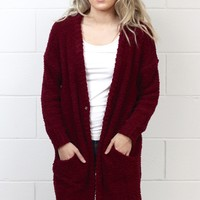 Cozy Wubby Oversized Cardigan {Burgundy} EXTENDED SIZES