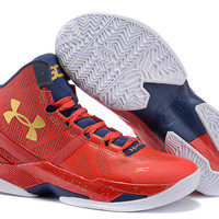 Men's Under Armour Stephen Curry 2 Floor General Red Basketball Shoes
