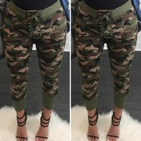 ITFABS Hot Camouflage Women's Sportwear Jogger Long Bottoms Pencil Pants Running Hiking Exercise Slim Trousers