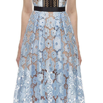 Hot Summer Self Portrait Style Lace Patchwork Crochet Runway Dress New 2016 Women Sky Blue Turn-Down Collar Long Party Dresses