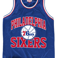 Mitchell and Ness Philadelphia 76ers Mens Short Sleeve Tank Top - Grey