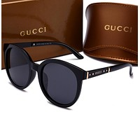 GUCCI Stylish Ladies Men Leisure Summer Sun Shades Eyeglasses Glasses Sunglasses Black Dark Grey Frame I-HWYMSH-YJ