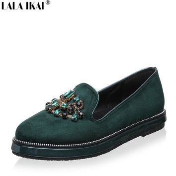 LALA IKAI Women Flats Loafers Rhinestone Flat Shoes Women Slip on Shoes for Women Suede Leather 60A0301-5