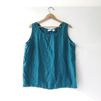 20% OFF SALE / oversized silk tank top / turquoise green silk camisole