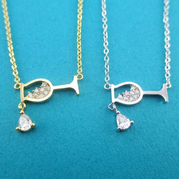 Wine Glass Shaped Pendant Necklace in Silver or Gold For Wine Lovers