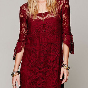 Red Bell Sleeve Lace Embroidered A-line Mini Dress With Vest