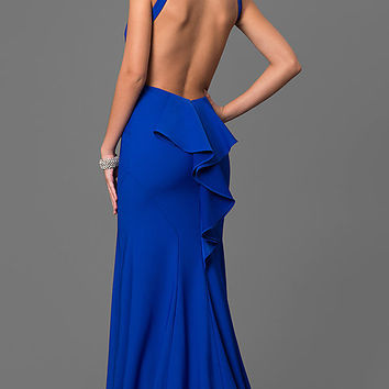 High Racer Front Open Back Prom Dress