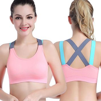 Best Seller Sexy Sports Bra Top Fitness Push Up Cross Straps Yoga Running Gym Active Wear Padded