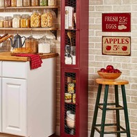 Slim Rustic Country Cabinet Chicken Wire Space Saver Kitchen Bath Entryway Red Black or White