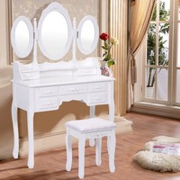 Costway White Tri Folding Oval Mirror Wood Vanity Makeup Table Set with Stool &7 Drawers - Walmart.com