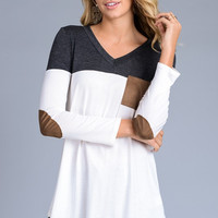 Charcoal Colorblock Jersey Long Sleeve Top with Suede Elbow Patches