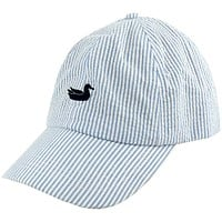 Limited Edition Blue Seersucker Hat with Navy Duck by Southern Marsh
