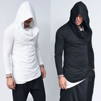 2018 Spring New Mens Hoodies Slim Fit Long Sleeve Solid Hoodies Light Thin Material Hooded Outwear Gothic Street Men Clothing
