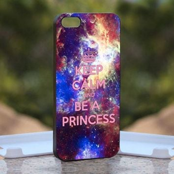Keep Calm And Be A Princess - Print on Hard Cover iPhone 5 Black Case