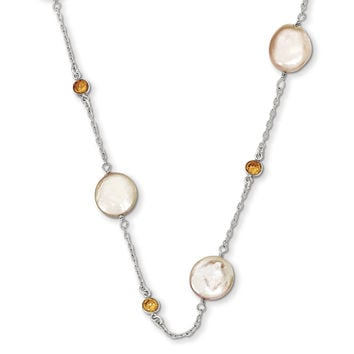 Sterling Silver Champagne CZ/ Peach FW Cultured Coin Pearl Necklace QH1852
