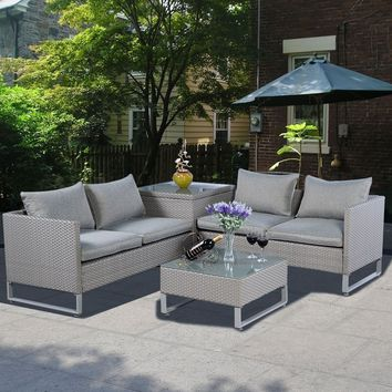 4PCS Rattan Wicker Patio Sofa Cushion Seat Set Furniture Lawn Outdoor Gray NEW