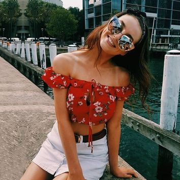 Red Floral Off The Shoulder Top