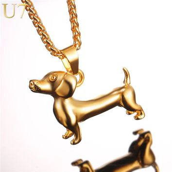 U7 Dachshund Necklace Gold Color Stainless Steel Pendant & Chain For Men/Women Cute Animal Badger Dog Jewelry 2017 New P1043