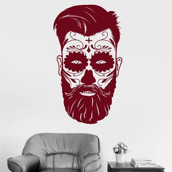 Vinyl Wall Decal Day Of Dead Mexican Mask Man Tradition Stickers (2201ig)