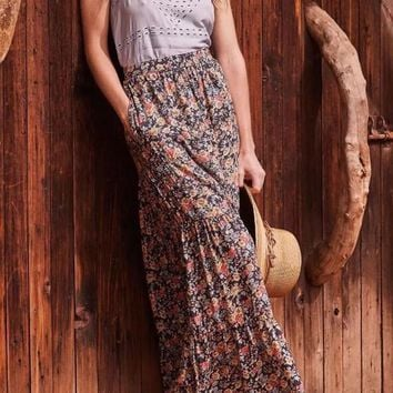 Black Floral Print Draped High Waisted Chiffon Bohemian Flowy Beach Long Skirt