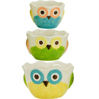 Boston Warehouse Floral Owl Prep Bowls (Set of 3)