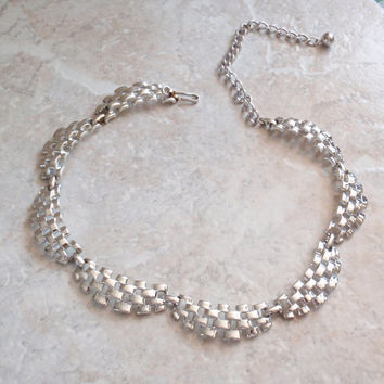 Basket Weave Necklace Coro Silver Tone Adjustable Scalloped Vintage