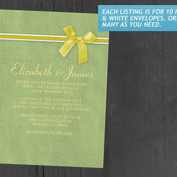 Yellow & Green Rustic Burlap Wedding Invitations | Invites | Invitation Cards