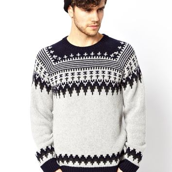Nudie Crew Knit Sweater Baldvin Nordic Jacquard - Off white