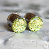 Green Glitter Gauges, Sparkly Green Plugs, Body Modification, Stretched Ears - size 4g, 2g, 0g, 00, 7/16, 1/2, 9/16, 5/8, 3/4, 7/8, 1""