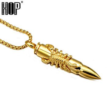 HIP Steampunk Gold Color Titanium Stainless Steel Statement Animal Scorpion Bullet Pendant Necklaces for Men Jewelry
