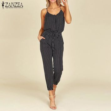 Summer ZNAZEA Elegant Striped Slim Pencil Overalls Work OL Long Jumpsuits Women Casual Strappy V Neck Sleeveless Rompers