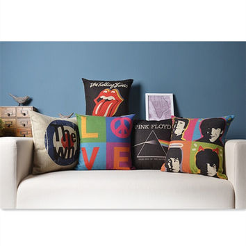 birthday gift Rock&Roll The Beatles Pink Floyd The Rolling Stones  Who Love pattern cushion pillow home decor