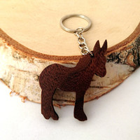 Wooden Donkey Keychain, Animal Keychain, Farm Animal Keychain, Walnut Wood, Environmental Friendly Green materials