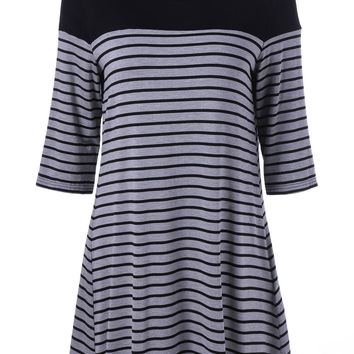 3/4 Sleeve Striped A Line Dress