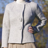 Boiled Wool Grey Women Jacket