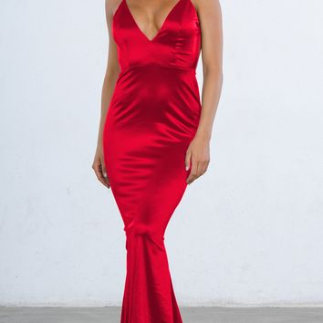 Indie XO Glowing Goddess Satin Sleeveless Spaghetti Strap Plunge V Neck Ruched Back Mermaid Maxi Dress - 4 Colors Available