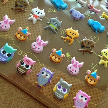 mini Cute animal icon sticker baby owl kitty baby animal puffy sticker little cat dog elephant  Forest Garden pet scrapbook diary sticker