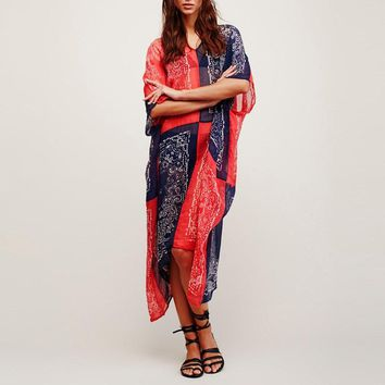 Chiffon Floral Print Loose Tunic Coverup Dress