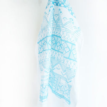Tea Towel Tribal Print 100% Cotton Large Blue Kitchenware Towel