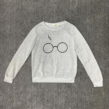 Harry Potter Glasses feminino Print Hoodies Women sweatshirt Plus Size Fleece Harajuku Cotton Pullover Female Tracksuit 40<9182B