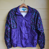 Vintage 1980s Windbreaker Jacket by On Your Mark Slouchy Zip Up Jacket Purple Jacket Medium
