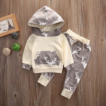 Hooded Tops + Pants Casual Baby Boy Clothing Outfits Toddler Kids Baby Boys Girls Clothes Set Hoodies Deer Warm 2PCS Set 0 - 4Y