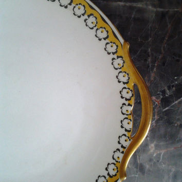 Vintage Limoges Cake Plate Double Handles White plate yellow and black roses pattern Gold handles France vintage china