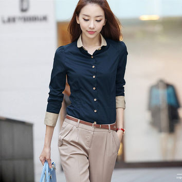 Casual Blouse Shirt Long Sleeve White Blusas Femininas Roupas Woman Clothes Body Ladies Work Wear Female Office Shirt Women Tops
