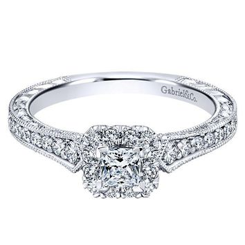 14K White Gold .68cttw Petite Princess Cut Halo Diamond Engagement Ring