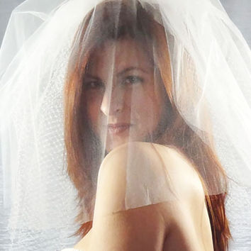 Net and Tulle Long Birdcage Veil